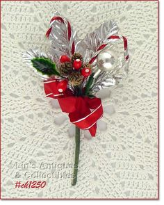 vintage corsage - silver and red with candy canes