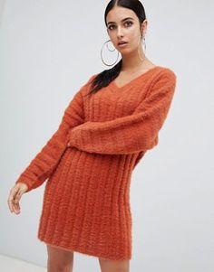 Glamorous ASOS Cream Ribbed Jumper Dress Size 10 BNWT