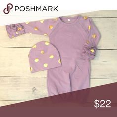 Lavender Gown with Gold Dots Ruffle Raglan Gown Lavender Gown with Gold Dots Ruffle Raglan Style Baby Gown with Hat.  Size NB.  Price is firm. Pajamas Nightgowns