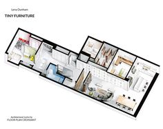 Watercolor isometric floor plan of apartment in movie Tiny Furniture by Lena Dunham https://www.facebook.com/floor.plan.croissant