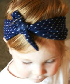 Baby Headband - Bow Tie Headband - Nautical - Navy Polka Dot