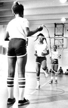 Girls playing Double Dutch / Lyn Alweis / Denver Post / August 6, 1978