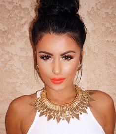 Amreezy pallette makeup Anastasia Beverly Hills Ulta beauty eye shadow fall orange summer bun amrezy