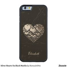 Silver Hearts On Black Marble Carved® Maple iPhone 6 Bumper Case