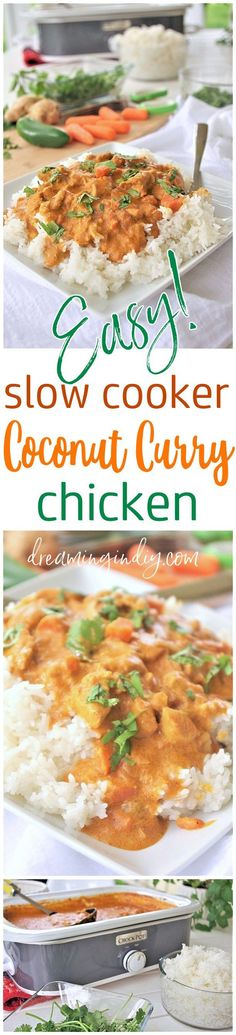 The BEST Easy Coconut Curry Crockpot Chicken Family Dinner Recipe - Yummy Slow Cooker Meal Dish via Dreaming in DIY - This AMAZING Thai inspired popular dish is easy to make in the crock pot with so much depth of flavor! This is going to be your favorite new way to make coconut chicken curry for your family at home in your trusty slow cooker.