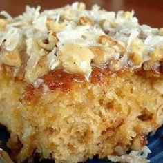 Pineapple Do Nothing Cake with Warm Coconut Pecan Icing