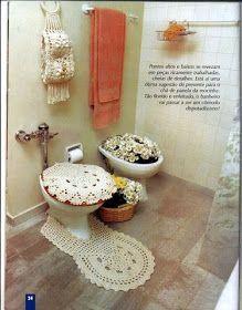 """""""Casos y Cosas de Mi Casa"""": Juego de baño blanco redondo tejido a ganchillo o crochet."""