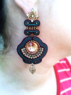Soutache Earrings dark green dark red gold by LENARAOSMANSoutache