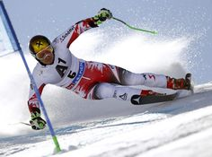 Austria's Marcel Hirscher competes during the first run of an alpine men's World Cup giant slalom in Soelden, Austria, Sunday, Oct. 26, 2014. Overall champion Marcel Hirscher held on to his first-run lead to win the season-opening World Cup giant slalom by a huge margin on Sunday. (AP Photo/Shinichiro Tanaka)