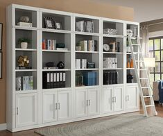 Add functional storage space to your family room, library or home office with the transitional style of the Catalina Collection by Parker House. The transitional style in Cottage White finish has the look of a custom built-in. Made of Poplar solids and Birch veneers, this fully modular collection is great for any home!