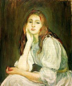 Berthe Morisot, Julie Daydreaming, 1894 Julie Manet – the Beauty of Impressionism Cassatt, Julie Manet, French Impressionist Painters, Painter, Artist, Berthe Morisot, Painting, French Artists, Manet