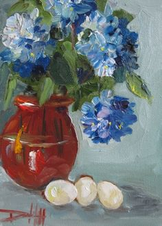 Red White and Blue Vase and Flowers, painting by artist Delilah Smith