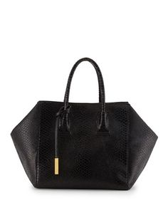 Cavendish Boston Faux-Python Tote Bag, Black by Stella McCartney at Neiman Marcus.