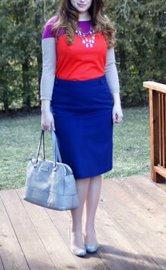 Happy Medley: cobalt blue skirt, colorblock sweater,