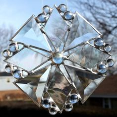 Snowflake Beveled Stained Glass Suncatcher by GoodGriefGlass Stained Glass Ornaments, Stained Glass Christmas, Stained Glass Patterns, Clear Glass, Glass Art, Christmas Ornaments To Make, Beveled Glass, Suncatchers, Snow Flakes