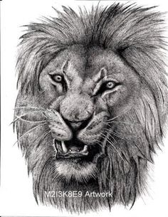 Snarling Lion by on DeviantArt Leo Police, Lion Sleeve, Lions, Sleeve Tattoos, Cats, Drawings, Template, Butterfly, Paintings
