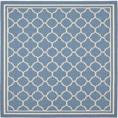 Courtyard Square Blue Transitional Indoor/Outdoor Woven Area Rug (Common: 7-ft x 7-ft; Actual: 6.58-ft x 6.58-ft)