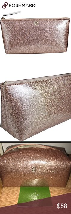 """Kate Spade Rose Gold Cosmetic Case PVC Imported Zipper closure Sparkle patent pvc with leather trim Interior slide pocket Approximate Measurements: 8"""" (L) x 4""""H) x 4""""W) Top Zip Closure kate spade Bags Cosmetic Bags & Cases"""