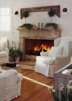 I want comfy white chairs 'round my fireplace with the hardwood floors, too. And I want it now.