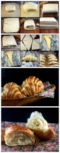 Puffy croissants secret = dough balls in middle! Homemade Jelly, Homemade Soup, Pastry And Bakery, Bread And Pastries, Croissants, Pizza, Bread Recipes, Cooking Recipes, Croissant Recipe