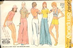 Vintage 1973 Simplicity 5640 Retro Top, Halter-Top & Bell-Bottom Hip-Hugger Pants or Shorts Sewing Pattern Size 12 Bust by on Etsy Halter Tops, Halter Neck, Simplicity Sewing Patterns, Vintage Sewing Patterns, Sewing Ideas, Sewing Diy, Pants Pattern, Top Pattern, Retro Pattern