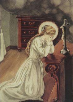 VIE-49 Thérèse prie pour Pranzini - aquarelle