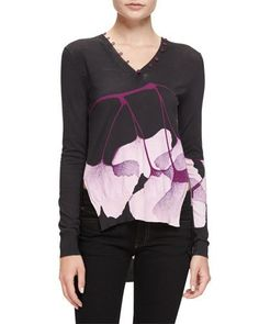 B3E67 Prabal Gurung Floral Button-Trim Sweater, Lavender/Navy