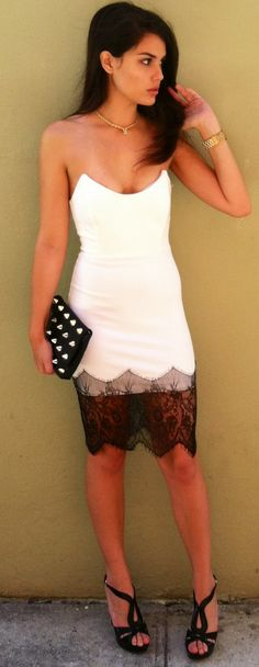 Gorgeous White + Black Lace Dress