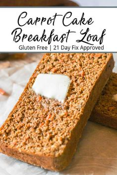 Gluten-Free Carrot Cake Breakfast Bread is the perfect morning starter. A full serving of protein, veggies and simple carbs to start your morning off right! Gluten Free Breakfasts, Gluten Free Desserts, Dairy Free Recipes, Baking Recipes, Whole Food Recipes, Cake Recipes, Snack Recipes, Dessert Recipes, Family Recipes