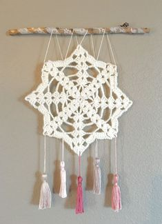 Crochet wall hanging, wall decor, doily art, shabby chic wall art with tassels, dream catcher Crochet Wall Art, Crochet Wall Hangings, Crochet Diy, Crochet Doilies, Browning Symbol, Hanging Wall Art, Diy Wall Art, Wall Decor, Bedroom Decor