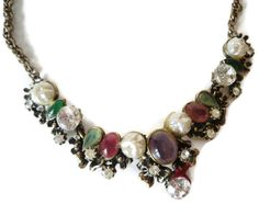 Vintage Rhinestone Cabochon And Baroque Pearl Bead Haskell Style Bib Necklace Gorgeous by EraAntiquesandFinds on Etsy