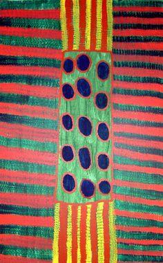 Artist: Barney Ellaga Title: Awulngu Media: Synthetic polymer paint on linen