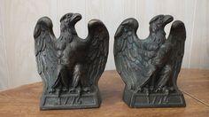 VINTAGE EAGLE BOOKENDS BRASS Heavy 1965 COLONIAL VIRGINIA 1776
