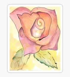 Watercolor Rose Sticker by Ailan Olsen