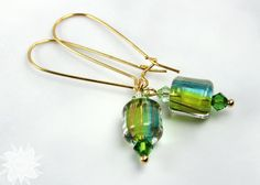 Green and Gold Cane Glass Earrings Long by DesertStarCreations, $16.99