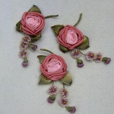Antique French Ribbon work Rose and Flowers