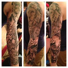 Best lion animal picture sleeve tattoo design idea for men a African Sleeve Tattoo, Animal Sleeve Tattoo, Lion Tattoo Sleeves, Sleeve Tattoos For Women, Tattoo Sleeve Designs, Tattoo Designs For Women, Animal Tattoos, Tattoos For Guys, Lion Sleeve