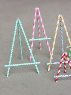 DIY Paper Straw Easel would work great for food labels at an art party.