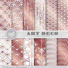 Rose Gold ART DECO Digital Paper / Rose Gold Art Deco Patterns Pattern Prints, Rose Gold Printable Art Deco Scrapbook Paper *Great for use on greeting cards, invitations, printable projects, party packs. paper craft, party invites, digital scrapbooking, backgrounds for blogs / photo albums / scrapbooks and many more creative projects! ***Purchase 3 or more items and receive 30% off your total order! Just enter the coupon code MNINE30 at checkout*** --------------------------...