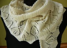 Long Leaves Hand Knit Lace Cream Scarf by suelillycreations