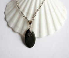 River Rock Pendant Necklace Silver Charm Eco Friendly by Hendywood