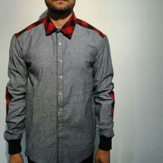 Long Sleeve Button Up Chambray&Red/Blk Plaid