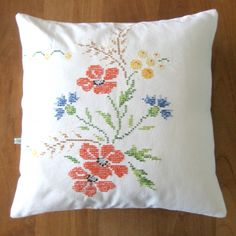 Vintage Pillow - Made from vintage flower tablecloths