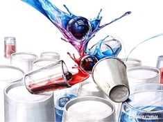 The cups of water are having different colors. When red water and blue water are mixed in the void, it became purple. One thing interesting is that the stream of water is going up. The picture get me idea of mixing water. Red Water, Copic, Food Art, Different Colors, Design Art, Projects To Try, Sketches, Drawings, Tableware
