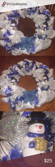 Homemade Snowman Christmas wreath Winter wonderland snowman wreath 16 inches Accessories