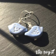 Bead Me Up Buttercup blue whitewashed bird earrings