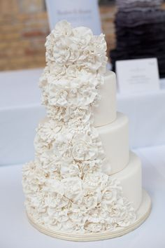 Ruffle floral wedding cake