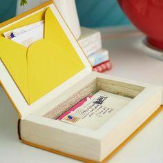 weihnachtsgeschenke basteln cooler Kasten aus dickem Buch