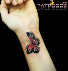 Butterfly tattoo design on wrist tattoo designs, tattoo pict Colorful Butterfly Tattoo, Butterfly Tattoo Cover Up, Butterfly Tattoo On Shoulder, Butterfly Tattoos For Women, Flower Wrist Tattoos, Tattoo Designs Wrist, Butterfly Tattoo Designs, Small Wrist Tattoos, Butterfly Pictures