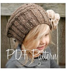 Knitting PATTERNThe Lilian Beret Toddler Child by Thevelvetacorn, $5.50